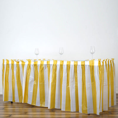 14Ft. Pleated Spill Proof & Waterproof Wipe Clean Stripe Table Skirt - White/Gold
