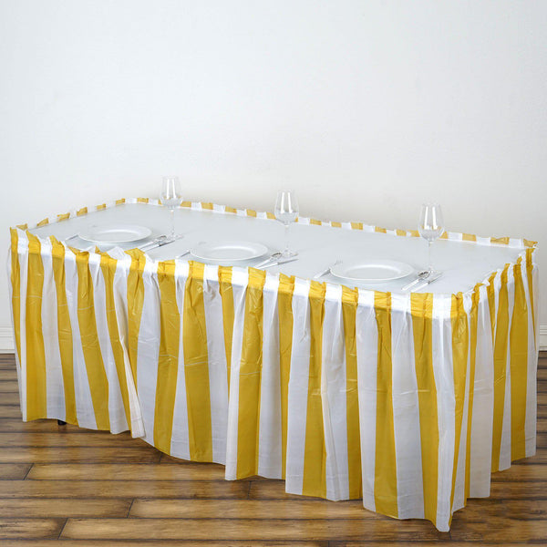 54def666b 14Ft. Pleated Spill Proof & Waterproof Wipe Clean Stripe Table Skirt -  White/Gold