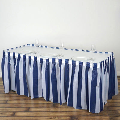 14FT 10 Mil Thick | Stripe Plastic Table Skirts - Disposable Table Skirt Spill Proof - White/Navy Blue
