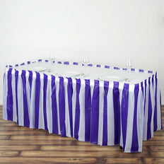 14FT 10 Mil Thick | Stripe Plastic Table Skirts - Disposable Table Skirt Spill Proof - White/Purple