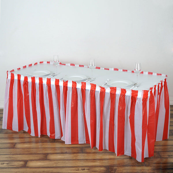 14FT 10 Mil Thick | Stripe Plastic Table Skirts - Disposable Table Skirt Spill Proof - White/Red