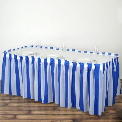 14Ft. Pleated Spill Proof & Waterproof Wipe Clean Stripe Table Skirt - White/Royal Blue