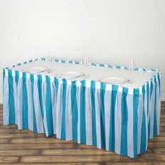 14FT 10 Mil Thick | Stripe Plastic Table Skirts - Disposable Table Skirt Spill Proof - White/Turquoise