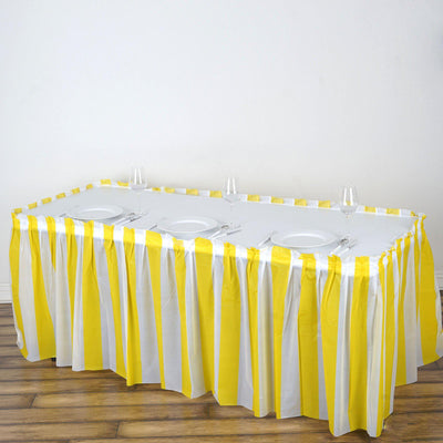 14Ft. Pleated Spill Proof & Waterproof Wipe Clean Stripe Table Skirt - White/Yellow