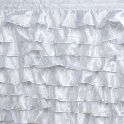 21ft Satin Ruffle Table Skirt - White
