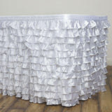 21FT White Satin Ruffle Pleated Table Skirts