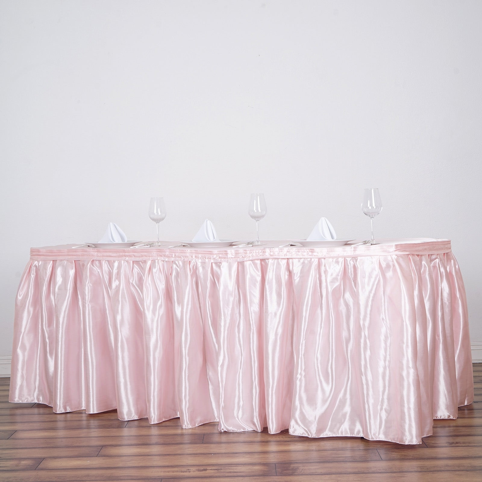 awesome Satin Table Skirt Part - 14: 21FT Blush Pleated Satin Table Skirt
