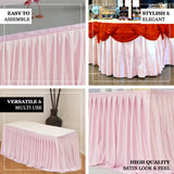 17FT Blush | Rose Gold Pleated Satin Table Skirt