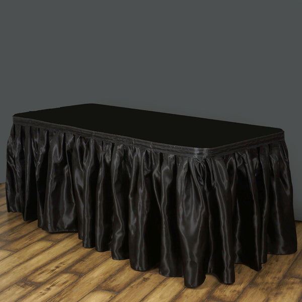 b15665820 14FT Wholesale Black Satin Pleated Table Skirt For Wedding Party Event  Decoration