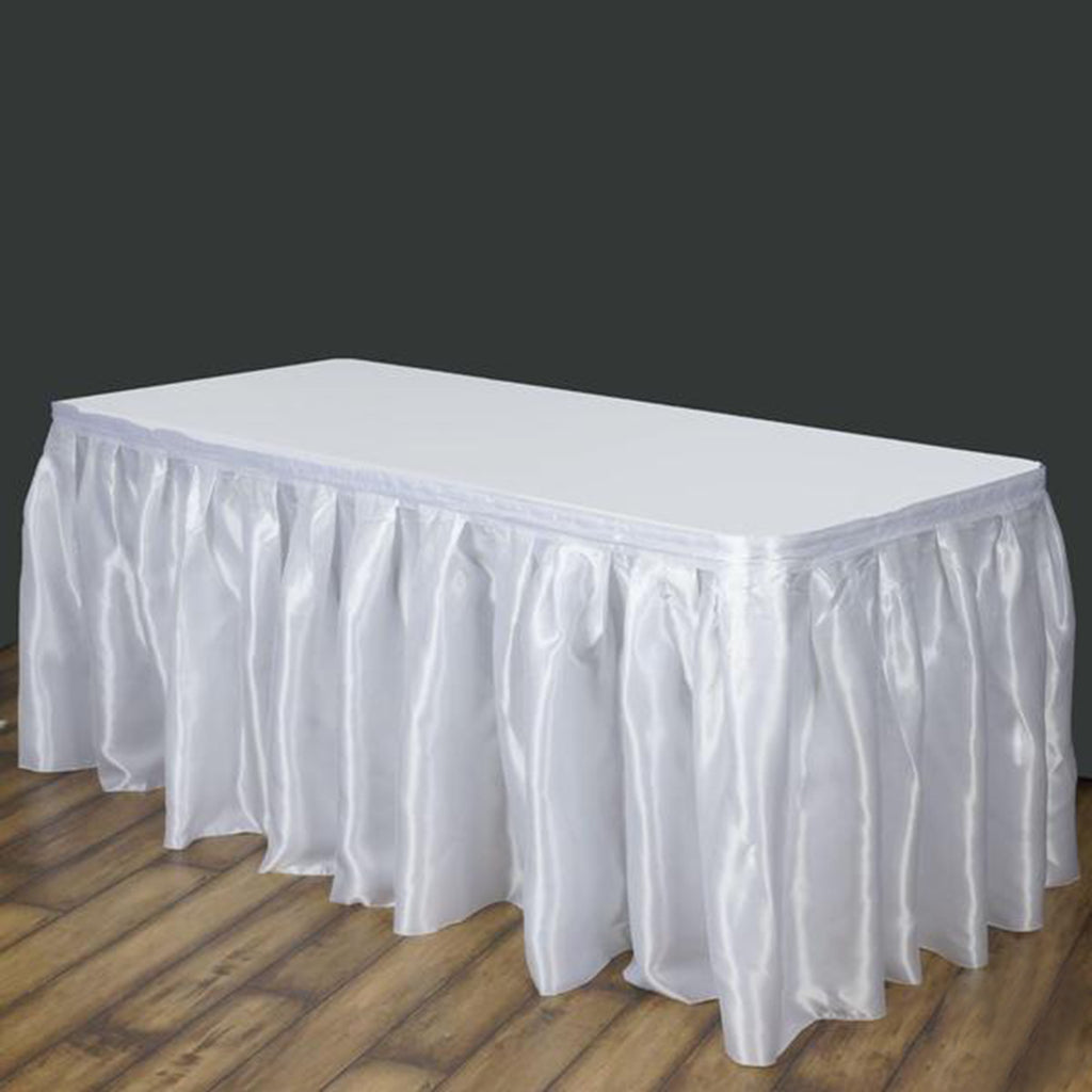 White Table Skirt Satin 14 Tablecloths Factory
