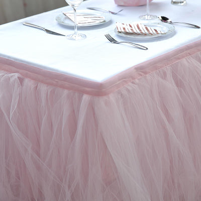 14 FT Blush / Rose Gold 4 Layer Tulle Tutu Pleated Table Skirts
