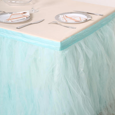 14FT Baby Blue 4 Layer Tulle Tutu Pleated Table Skirts