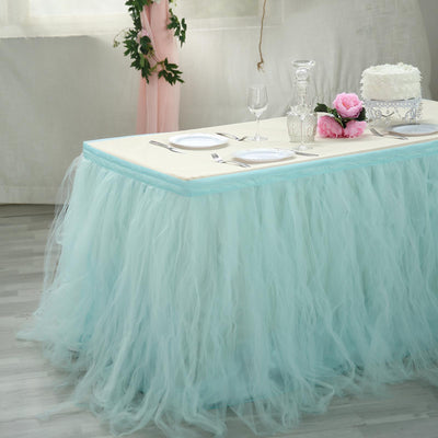 14ft Tantalizing 8 Layer Tulle Table Skirt - Serenity Blue