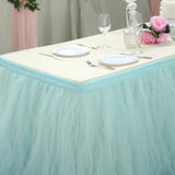 21FT Serenity Blue 4 Layer Tulle Tutu Pleated Table Skirt For Baby Shower Birthday Party Decoration