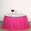 14FT Fuchsia 4 Layer Tulle Tutu Pleated Table Skirts