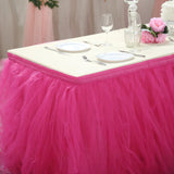 17FT Fuchsia 4 Layer Tulle Tutu Pleated Table Skirts