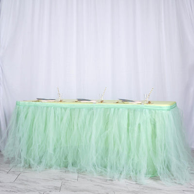 14 FT Mint Green 4 Layer Tulle Tutu Pleated Table Skirts