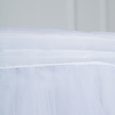 17FT White 4 Layer Tulle Tutu Pleated Table Skirts