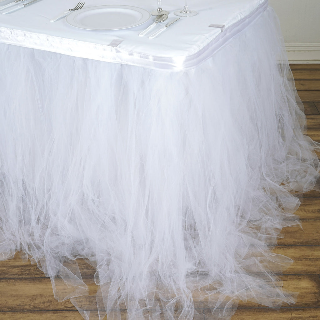 5c1b7c99c0 21FT White 8 Layer Tulle Tutu Pleated Table Skirts ...
