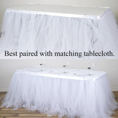 14FT White 4 Layer Tulle Tutu Pleated Table Skirt