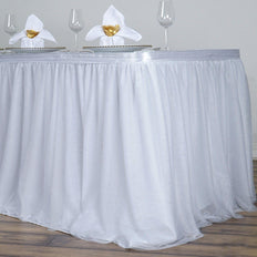 21FT White 3 Layer Tulle Tutu Pleated Table Skirt With Satin Attachment