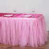 14 FT Pink Two Layered Pleated Tulle Tutu Table Skirt With Satin Edge