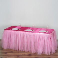 17 FT Pink Two Layered Pleated Tulle Tutu Table Skirt With Satin Edge
