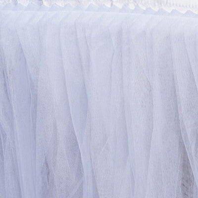 21FT White Two Layered Pleated Tulle Tutu Table Skirt With Satin Edge