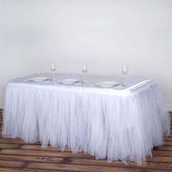 21FT White Two Layered Pleated Tulle Tutu Table Skirt With Satin Edge - Clearance SALE