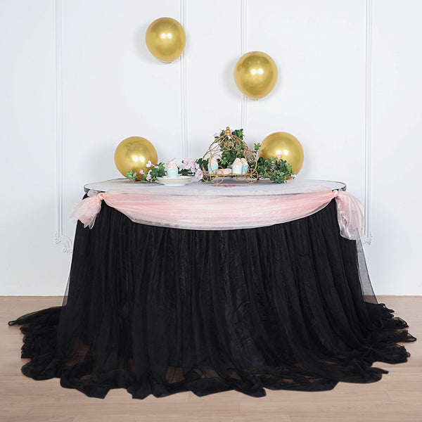 "21FT Black Extra Long 48"" Two Layered Tulle & Satin Table Skirt"