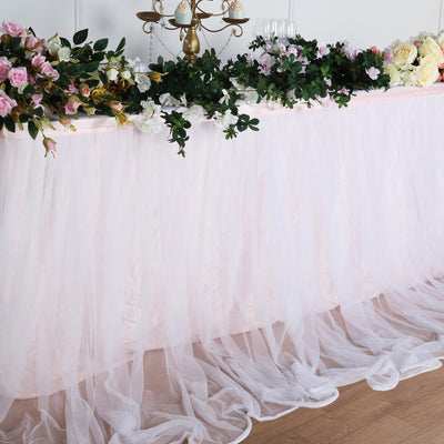 14FT Extra Long 48 inch Two Layered Tulle & Satin Table Skirt - Blush/Rose Gold | White