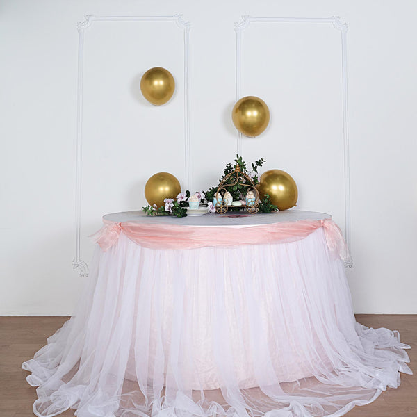 "14FT Extra Long 48"" Two Layered Tulle & Satin Table Skirt - Blush/Rose Gold 