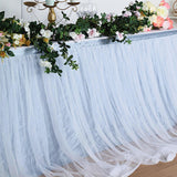 17FT Extra Long 48 inch Two Layered Tulle & Satin Table Skirt - Dusty Blue | White