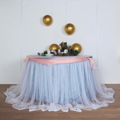 21FT Extra Long 48 inch Two Layered Tulle & Satin Table Skirt - Dusty Blue | White