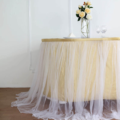 17FT Extra Long 48 inch Two Layered Tulle & Satin Table Skirt - Champagne | White