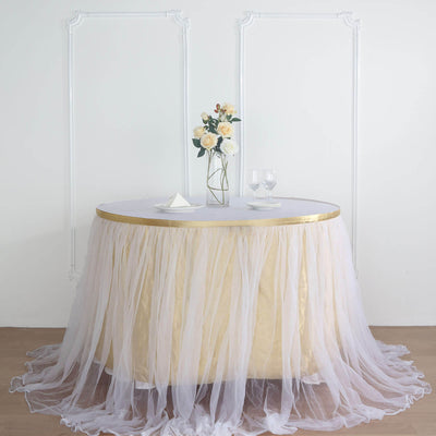 21FT Extra Long 48 inch Two Layered Tulle & Satin Table Skirt