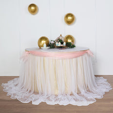21FT Extra Long 48 inch Two Layered Tulle & Satin Table Skirt - Champagne | White