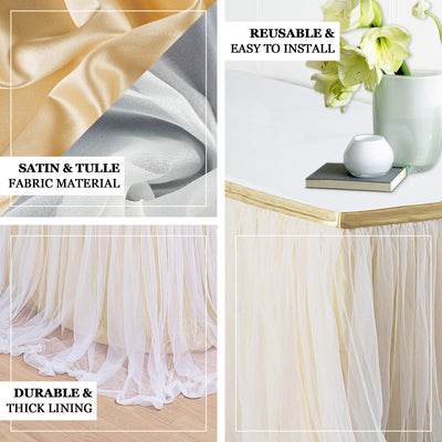 "17FT Extra Long 48"" Two Layered Tulle & Satin Table Skirt - Dusty Blue 