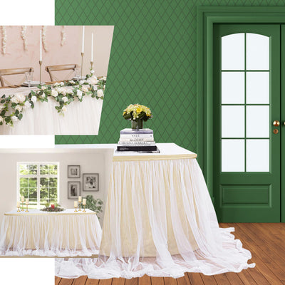 "21FT White Extra Long 48"" Two Layered Tulle & Satin Table Skirt"