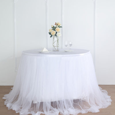 14FT White Extra Long 48 inch Two Layered Tulle & Satin Table Skirt