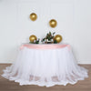 17FT White Extra Long 48 inch Two Layered Tulle & Satin Table Skirt