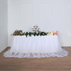 21FT White Extra Long 48 inch Two Layered Tulle & Satin Table Skirt