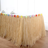 9FT Natural Raffia Table Skirt, Tropical Table Skirts for Hawaiian Decoration