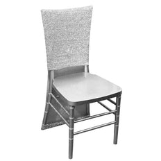 Metallic Glittering Shiny Silver Spandex Stretch Chair Slipcover