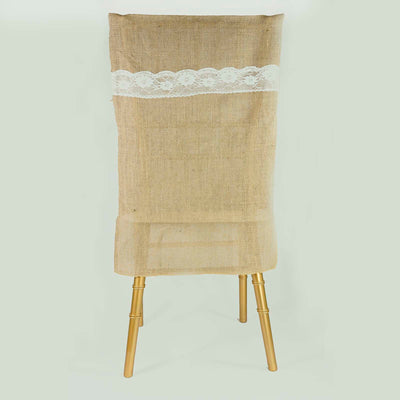 All Natural Jute Burlap Chair Slipcover