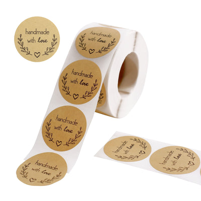 500PCS | 1.5 inch Self Adhesive Handmade with Love Stickers Roll, Bakery Cookies Labels