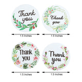 500Pcs | 1.5 inch Floral Round Thank You Stickers Roll with black text and various colored designs