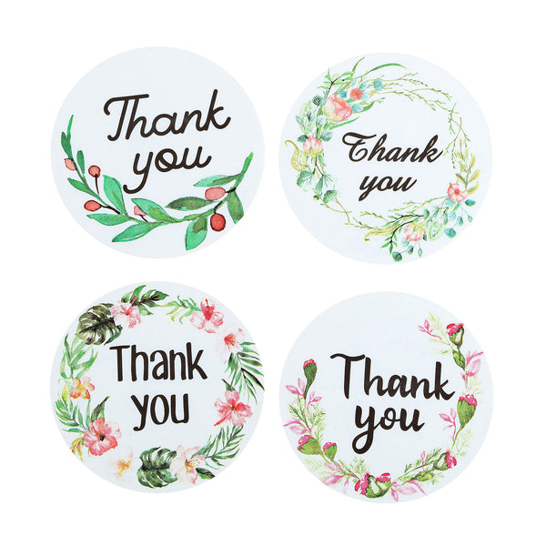"500pcs | 1.5"" Round Thank You Stickers Roll With Assorted Floral Designs, DIY Envelop Seal Labels"