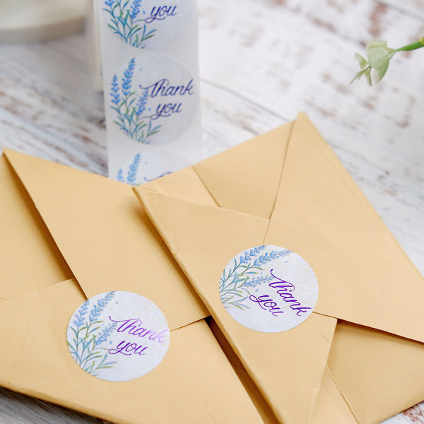 "500pcs | 1.5"" Round Thank You Stickers Roll With Purple Foil Text Floral Design, DIY Envelope Seal Labels"