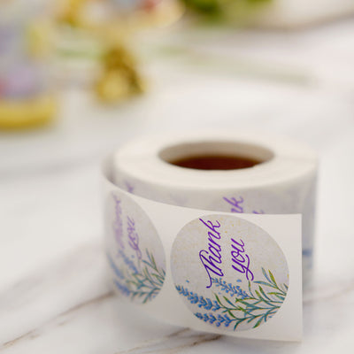 Floral Round Thank You Stickers Roll, White/Purple Tinted Background, Envelope Seal Labels